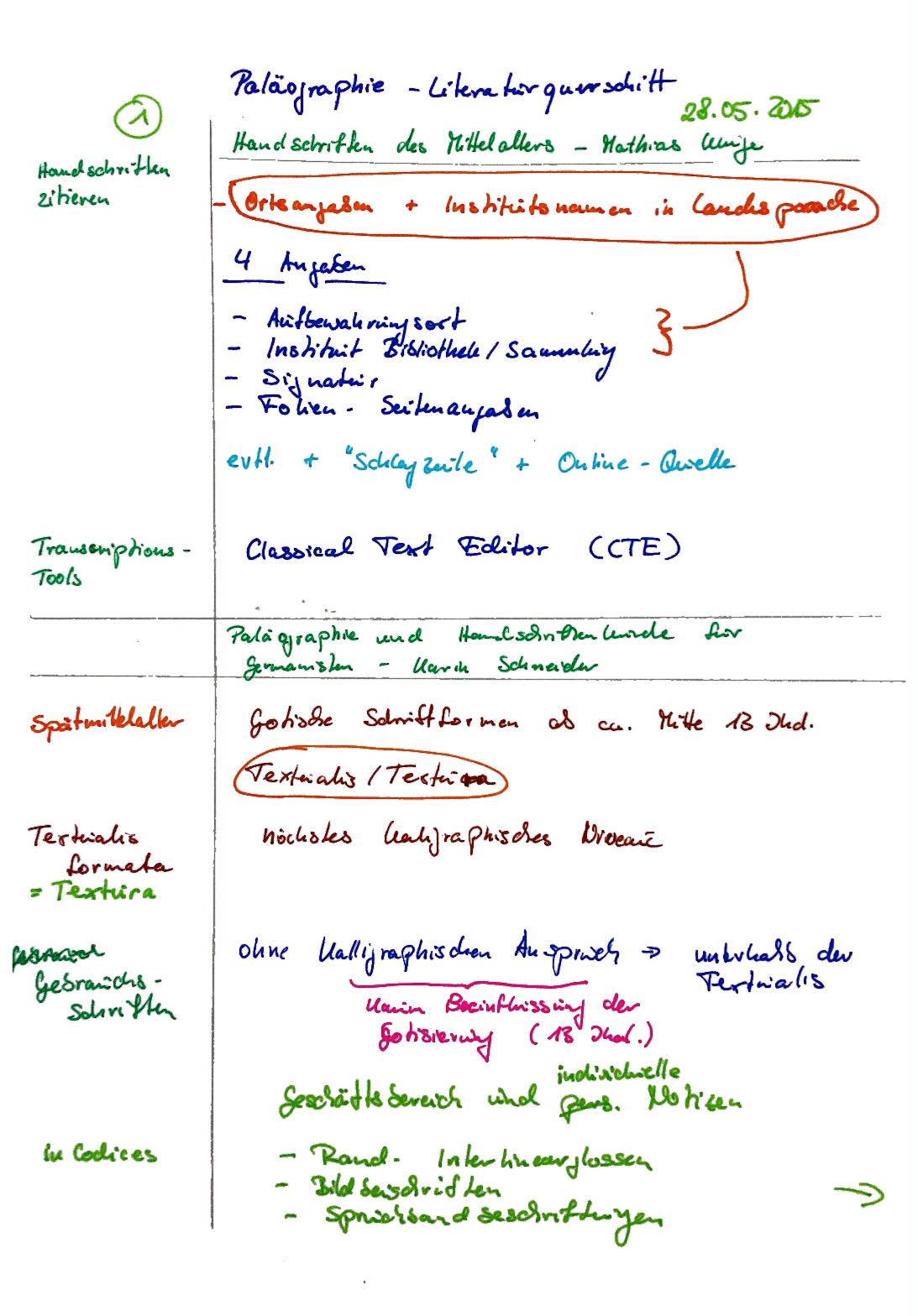 Notizen Paläographie und Schriftkunde 2015-05-28